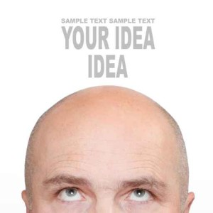 Hairless men's head with space for your text.