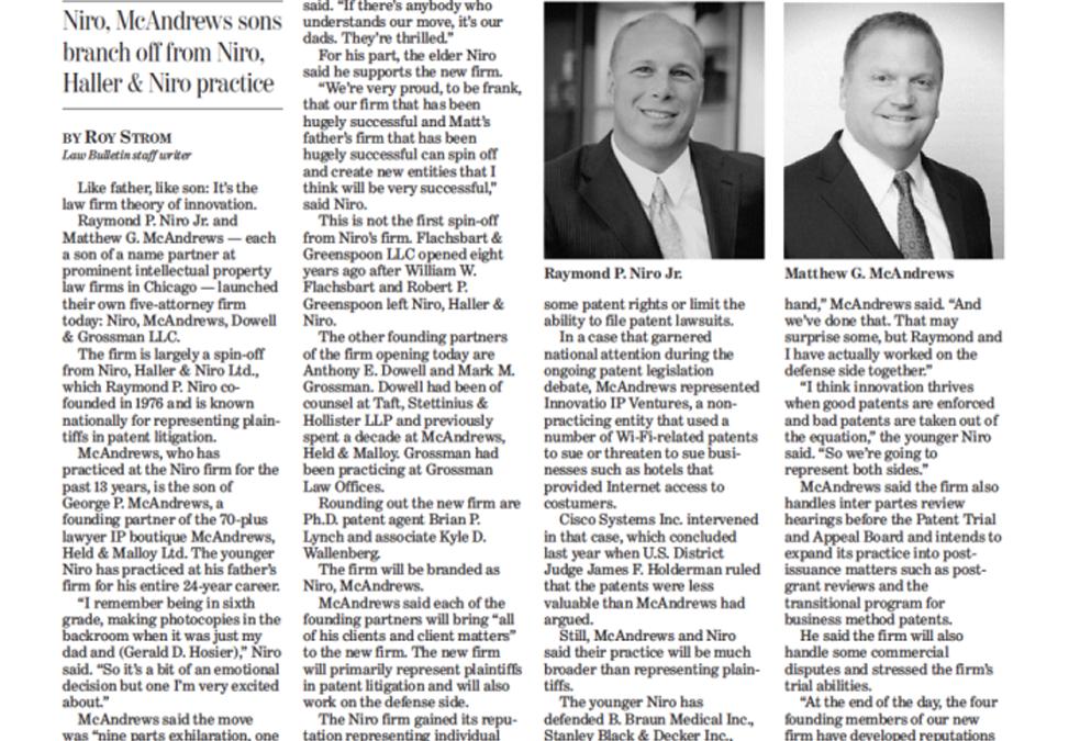 Chicago Daily Law Bulletin Headlines Niro McAndrews Launch