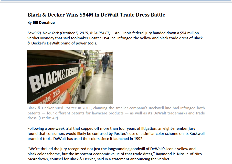 IP360 Interviews Raymond Niro, Jr. About Firm's $54 Million DeWalt Trademark Win